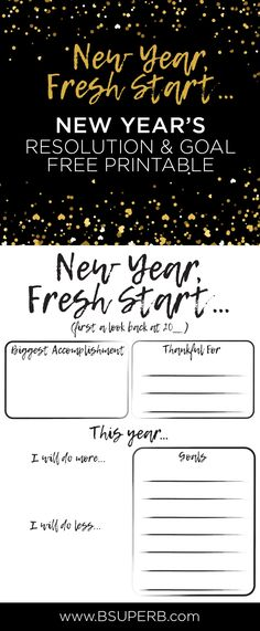 New Year's Resolution & Goals - Free Printable
