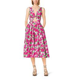 Peony-Print Cotton-Poplin Tie-Front Dress