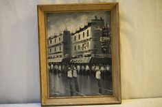 Modern Oil Painting Paris France Street Scene Black White Signed Mid Century