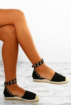 Dream Destination Black Studded Espadrilles