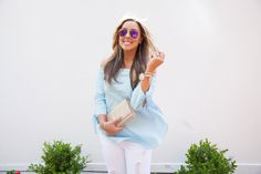 Pink Mirror Aviators and Blue Off Shoulder Top with Ripped White Jeans.   THECASHMEREGYPSY.COM