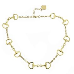 """A unique twist on the everyday chain necklace, our Short Horsebit Necklace is a timeless piece. 17"""" long with 2"""" extension 5/8"""" wide Lobster claw closure"""