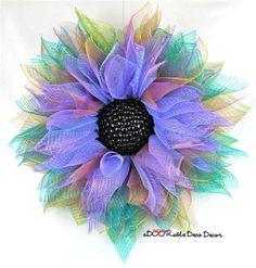 Deco Mesh Flower Wreath, Summer Wreath, Deco Mesh Wreath, Teal Wreath, Purple Wreath, Spring Wreath, Everyday Wreath, Flower Wreath by aDOORableDecoDecor on Etsy