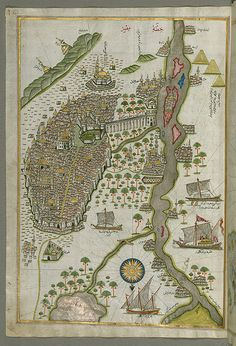 Illuminated Manuscript Map of Cairo, from Book on Navigation, Walters Ms. : Illuminated Manuscript Map of Cairo, from Book on Navigation, Walters Ms. Vintage Maps, Antique Maps, Egypt Map, Cairo Egypt, Map Globe, Map Of The Globe, Fantasy Map, Historical Maps, Ancient History