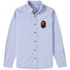 A Bathing Ape Large Ape Head Oxford Shirt (Sax)