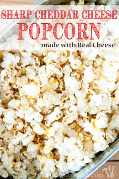 Make the most flavorful cheese popcorn without fake powdered cheese! This Sharp Cheddar Cheese Popcorn made from real cheese is easy and cheesy. White Cheddar Popcorn, Cheese Popcorn, Popcorn Snacks, Gourmet Popcorn, Popcorn Balls, Flavored Popcorn, Blue Popcorn, Healthy Popcorn, Popcorn Kernels