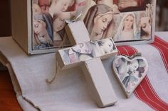 Wooden Cross high – hand-painted with decoupaged vintage Madonna and child motive ( please note that these are handmade and purchased item may differ slightly from the one shown in this image)