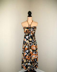 Halter Dress Sundress Mod Dress 70s Dress by MintJulepShoppe