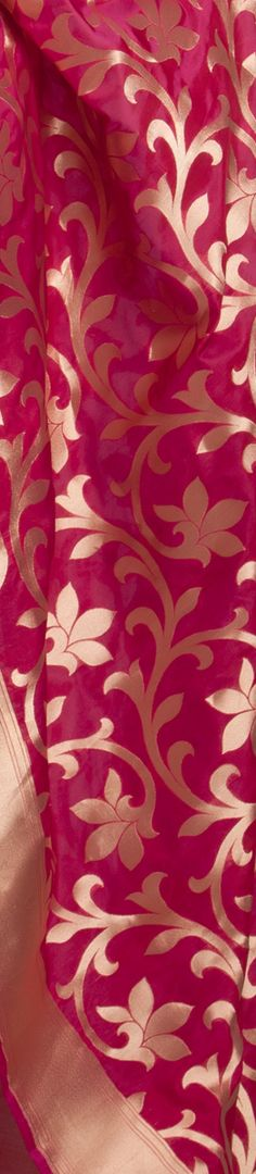 Dark pink #Silk #Saree with #Gold leaves. #Craft #Art #Fashion #Fabric #Beautiful