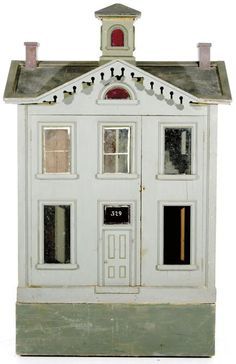 Dollhouse | Victorian Wood Painted 2-Story 4-Room Cross-Gable. Great design and detail.  .....Rick Maccione-Dollhouse Builder www.dollhousemansions.com