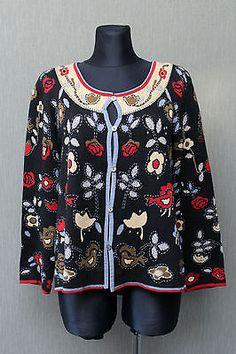 Gudrun Sjöden Jacke L Strickjacke Blumen bestickt U01 in Kleidung & Accessoires, Damenmode, Pullover & Strick | eBay