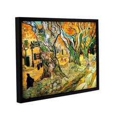 The Road Menders by Vincent Van Gogh Floater Framed Painting Print Gallery Wrapped on Canvas