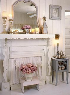 Vintage Fireplace with a Curtain