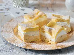 Suroviny na Krémeš Tatry: Na cesto: 250 ml vody, 80 ml oleja, štipka soli, 220 g hladkej múky, 6 vajec. Na krém: 300 g cukru, 150 ml vody, 500 ml polotučné Camembert Cheese, Cheesecake, Dairy, Pudding, Yummy Food, Cupcake, Gardening, Basket, Delicious Food