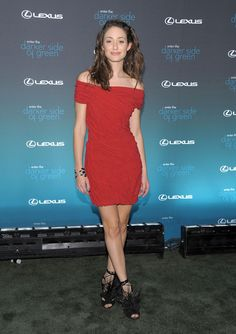 Emmy Rossum Off-the-Shoulder Dress