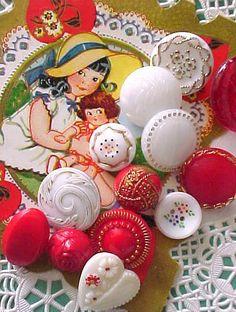 Vintage Valentine glass button mix