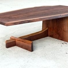 A unique cantilever design in live edge wood offers eye catching detail in a solid, strong occasional table offering. Live Edge Furniture, Log Furniture, Unique Furniture, Custom Furniture, Live Edge Wood, Live Edge Table, Coffe Table, Coffee Table Design, Coffee Table Cantilever