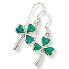 Green Opal Shamrock Earrings