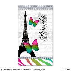311 Butterfly Business Card Paris Eiffel Tower