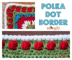 Polka Dot Border - free crochet edging pattern on Moogly! Moogly Crochet, Grannies Crochet, Crochet Video, Knit Or Crochet, Crochet Stitches, Free Crochet, Afghan Crochet, Crochet Trim, Crochet Edging Patterns