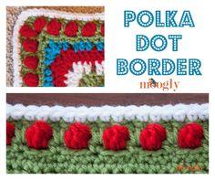 Polka Dot Border - free #crochet edging pattern on Moogly!