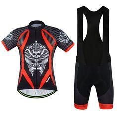 Skull Mountain Bike Clothing Short Sleeve Black Aogda Men's Cycling Jerseys Bibs Set Bicycle Shirts and Padded Bib Shorts