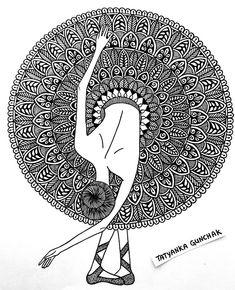 ballerina by Tatyanka-Gunchak on DeviantArt Easy Doodle Art, Doodle Art Designs, Doodle Art Drawing, Zentangle Drawings, Doodles Zentangles, Sketch Pen Drawing, Doodling Art, Doodle Sketch, Mandala Art Lesson