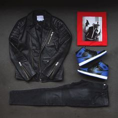 Outfit grid - Black leather jacket
