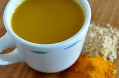 """""""Turmeric-Ginger Tea"""" with: ground turmeric, ground ginger, allowed milk, honey or real maple syrup."""