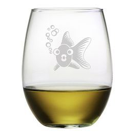 Goldie the Goldfish Stemless Wine Glasses