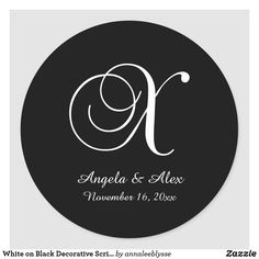White on Black Decorative Script Monogram X Classic Round Sticker Monogram Gifts, White Shop, Christmas Card Holders, Round Stickers, Custom Stickers, Keep It Cleaner, Script, Activities For Kids, Lettering