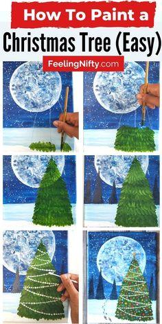 Winter Scene Paintings, Christmas Paintings On Canvas, Christmas Tree Painting, Winter Painting, Painting For Kids, Christmas Art, Christmas Drawings For Kids, Winter Scenes To Paint, Magical Christmas