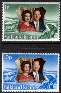 1972 Falkland Islands Royal Silver Wedding Set Fine Mint SG 289 90 Scott 223 4 Other South Pacific and British Commonwealth Stamps HERE!