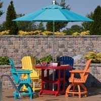 Berlin Gardens Gliders Are Pictured Here With Matching Tables. Add The  Shade Umbrella And Your Deck Will Have An Intimate And Comfortable Conversau2026