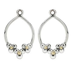 Pandora Silver and 14ct Gold Daisy Hoop Compose Earrings 290633