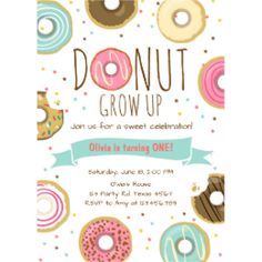 donut birthday invitation donut grow up party cucumber pinterest
