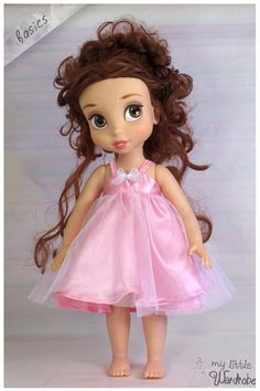 Disney Animator doll Clothes - Baby Pink satin dress with white netting overlay… Baby Pink Dresses, Pink Satin Dress, Little Dresses, Satin Dresses, Disney Animator Doll, Disney Dolls, Blythe Dolls, Girl Dolls, Aladdin