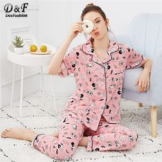 Pink Pocket Dog Print Button Up Pajama Set Women Autumn Clothing Casual Nightwear Summer Short Sleeve Loungewear shop Satin Pyjama Set, Satin Pajamas, Pajama Set, Pajama Party, Womens Fashion Online, Latest Fashion For Women, Button Up Pajamas, Pajamas For Teens, Cozy Pajamas