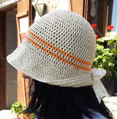 Crochet Hat Beige Cotton Hat with Lace Bowknot 100 by Dushle, $25.00
