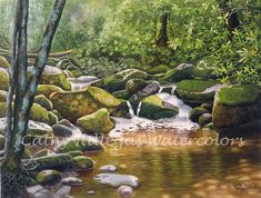 Roaring Fork, Smoky Mountains, art watercolor painting print by Cathy Hillegas, 16x21, landscape, green, gold, brown, blue, purple, laurel