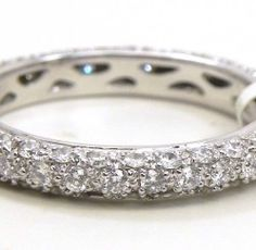 Ladies 18k White Gold 3 Row Diamonds Eternity Wedding Band | Bright Jewelers