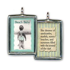A handcrafted soldered glass pendant featuring a vintage image with its special message encased in glass and surrounded with a silver tone lead-free solder. The smooth surface and polish seal create a