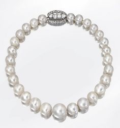In 1987, Sotheby's famously auctioned the jewels of the Duchess of Windsor, including a Cartier single strand pearl and diamond necklace, originally belonging to Queen Mary, which sold for 733,333 USD. In 2007, the necklace returned to the auction block at Sotheby's and nearly quintupled its price with the final hammer bid of 3.6 million USD