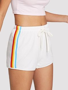 Striped Side Drawstring Waist Shorts -SheIn(Sheinside) Cute Comfy Outfits, Sporty Outfits, Cool Outfits, Tween Fashion, Fashion Outfits, Diy Shorts, Comfy Shorts, Little Girl Models, Vetement Fashion