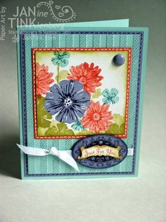 I really like this Greenhouse Garden card -- good use of masking, nice set of colors, pretty flower arrangement....