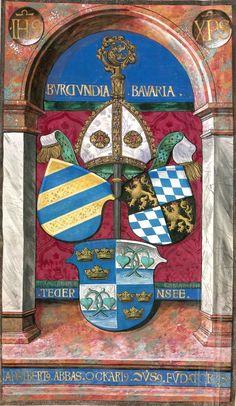 """""""Adalbertus Abbas Ockarius Conversus Fundatores"""", Abtstab und Mitra mit drei Wappenschilden (Burgund, Bayern, Tegernsee) unter einer Arkade (Bildnr.6) -- «Psalter», [S.l.], 1514-1515 [BSB-Hss Clm 19201]"""