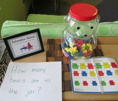 Check out this Estimation Station, made by our preschool teachers at the Bright Horizons at Minnetonka, MN.