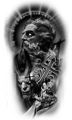 Evil Tattoos, Scary Tattoos, Head Tattoos, Sleeve Tattoos, Hades Tattoo, Zeus Tattoo, Statue Tattoo, Egyptian Tattoo Sleeve, Realistic Tattoo Sleeve