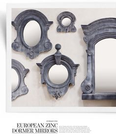 zinc dormer windows with mirrors Mirror Restoration, Restoration Hardware, Architectural Features, Architectural Salvage, French Exterior, Cement Art, Dormer Windows, Window Styles, Through The Looking Glass
