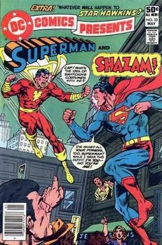 DC Comics Presents: Superman and Shazam (Captain Marvel) Vintage Comic Book Cover. Awesome